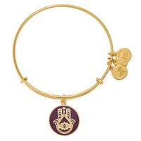 Alex and Ani Cabernet Hand of Fatima Charm Bangle - Shiny Gold Finish
