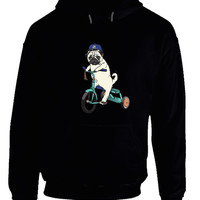 Pug Riding Bicycle Hoodie