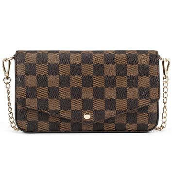 Womens Checkered Small Chain Cross Body Bag Leather Flap Purse