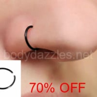 Lot of 3 Black Steel Bendable Nose Hoop Surgical Steel Body Jewelry Piercing Jewelry 20ga Black Friday Cyber Monday