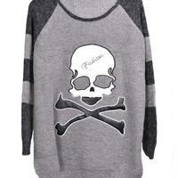 Skull Pattern Striped Sleeves Pullover