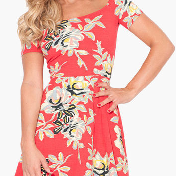 Red Floral Print Short Sleeve Mini Dress