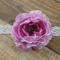 Light Purple Ranunculus Flower Lace Headband or Clip Hair Accessories Baby Toddler Adult