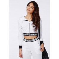 Missguided - Jenna Don't Do It Cropped Hoodie White
