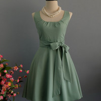 My Lady Sage Green Dress Spring Summer Dress Matcha Green Party Dress Sage Green Party Tea Dress Bridesmaid Dress Vintage Design Dress XS-XL