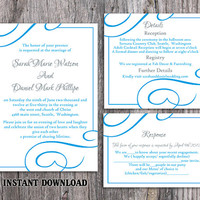 Wedding Invitation Template Download Printable Wedding Invitation Editable Blue Invitations Elegant Invites Turquoise Wedding Invitation DIY