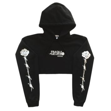 Handle With Care Crop Hoodie in Black