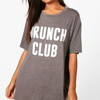 Poppy Brunch Club Slogan Night Dress | Boohoo