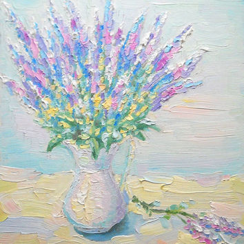 "Bouquet of Flowers Custom Oil Painting ""Lavender"" Impasto Purple Lavender Jug Vase Still Life Wall Decor Contemporary Floral Child Room Art"