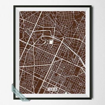 Turin Print, Italy Poster, Turin Poster, Turin Map, Italy Print, Italy Map, Street Map, Home Decor, Map Decor, Wall Art