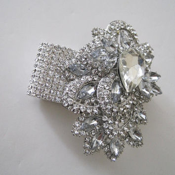 Crystal Rhinestone Cuff Brooch Bracelet  Wrist Corsage Bride Bridesmaid Mother of the Bride Prom Accessories Bridal Wedding   Custom Order