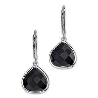 RED CARPET Lever Back Earrings - Fashionable Sterling Silver and Black Agate