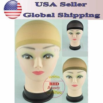 Select Color-12pcs- Unisex Nylon Bald Wig Hair Cap Stocking Liner Snood Mesh Stretch black/brown/fresh