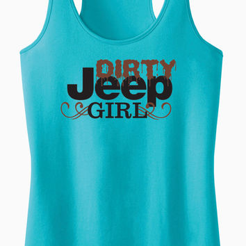 Dirty Jeep Girl Racerback Tank Top