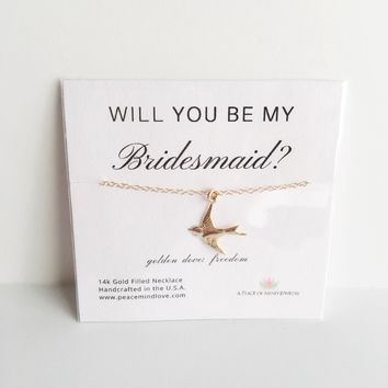 Will you Be My Bridesmaid? 14k Gold Filled Dove Necklace