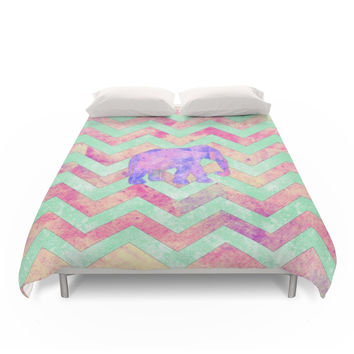 Society6 Whimsical Purple Elephant Mint Green Pink Chevron Duvet Covers