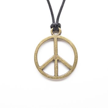 Peace Unisex Fashion Pendant Necklace with Rope