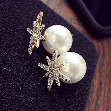 womens 925 silver pearl earring girl ear stud christmas gift 08