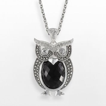 Lavish by TJM Sterling Silver Onyx & Crystal Owl Pendant - Made with Swarovski Marcasite (Black)