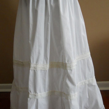 All White Tiered Petticoat Skirt with Crocheted Lace eyelet lace Adjustable to plus size hippie skirt, prairie skirt, boho, maxi skirt