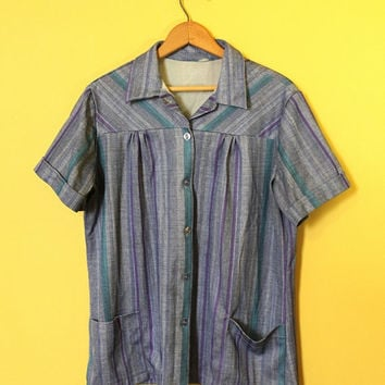 Striped Blue Polyester Shirt 60s Vintage Summer Top 1960 Short Sleeve Bowling Tee Retro Purple Top Plus Size Vtg