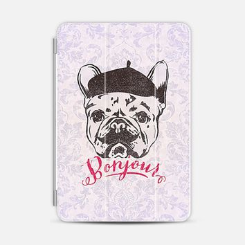Funny Mustache French Bulldog Sketch Typography iPad Mini case by Girly Road | Casetify