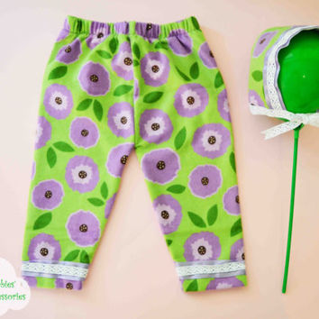 Baby Set, Green Pants, Purple Flowers, Cotton Pants, Christmas Gift, Baby Flannel, Baby Hat, Newborn baby, Welcome Home baby, Baby Baptism