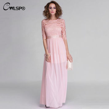 Hot Sale Women Elegant Lace Long Maxi Dresses Hollow Out Chiffon Half sleeve Evening Wedding Party Dress Plus size 3XL QZ609