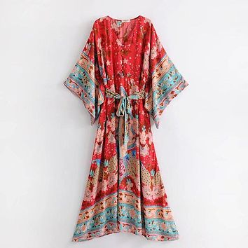Bohemian Floral Print Maxi Dress Kimono Holiday Dress