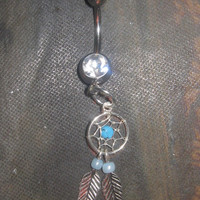 925 Sterling Silver  Dream Catcher 14 gauge CZ Belly Ring