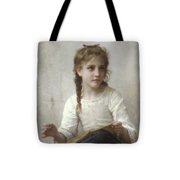 Sewing By Adolphe-William Bouguereau - Tote Bag