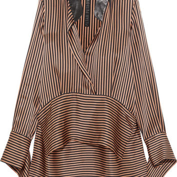 Petar Petrov - Leather-trimmed asymmetric striped silk-satin blouse
