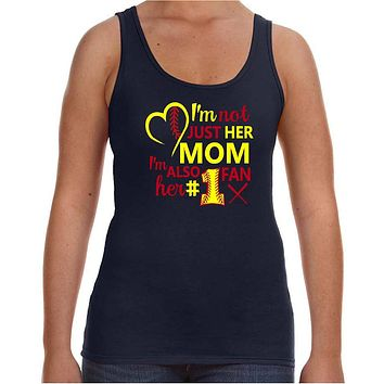 Softball Mom Tank Top; I'm Not Just Her Mom I'm Also Her #1 Fan