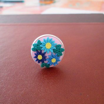 lilac floral polymer clay ring,colorful ring,spring ring,cameo ring,filigree ring,vintage style,retro,hippie jewelry,artisan ring,boho ring