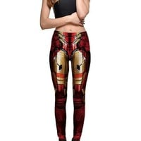 Red The Avengers Print Plus Size Stretch Yoga Slim Casual Sports Wonder Women Legging