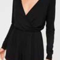 Missguided - Black Jersey Wrap Romper
