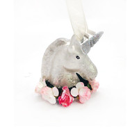 Unicorn with Flowers Ornament