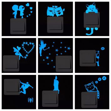 Blue-light Luminous Switch Sticker Home Decor Cartoon Glowing Wall Stickers Dark Glow Decoration Sticker