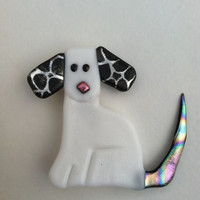 White Puppy Pin, Whimsical dog jewelry, Canine Jewelry, Dog Pin, Dog Magnet