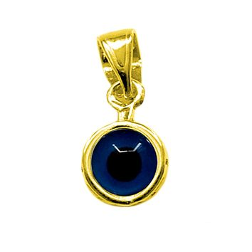 Sterling Silver 18 Karat Gold Overlay Plated Greek Meandros Evil Eye - Diameter 7.5 mm