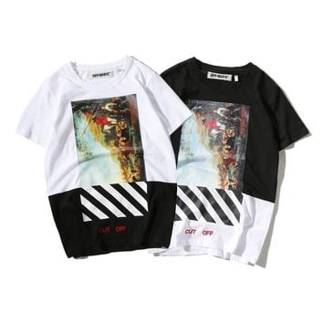 Fashion Men's Fashion Patchwork Stylish Couple Cotton Short Sleeve T-shirts [211450822668]