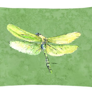 Dragonfly on Avacado   Canvas Fabric Decorative Pillow