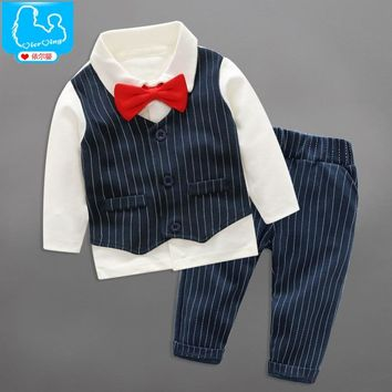 YiErYing 2Pcs Newborn Clothes Sets 2018 Fashion Party Bow Tie Gentleman Tops+Pants For Baby Boy Suits Newborn Photography Props
