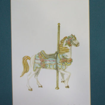 Matted Fine Art Print of Original Watercolor Painting of Carousel Horse - Victorian Home Decor, Art Deco Hobby Horse
