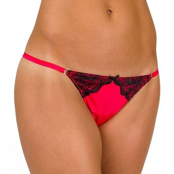 Candie's Microfiber Lace-Trim G-String Thong