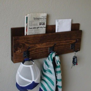 Modern Rustic Entryway 3 Hanger Hook Coat Hat Rack with Mail Magazine Tablet Newspaper Key Organizer - Dark Bronze