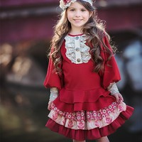 Persnickety Elegant Tunic for Girls in Red PREORDER