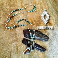 Native american agate horn necklace, festival fashion