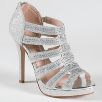 High Heel Platform Sandal with Zipper Back
