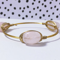 Rose Quartz Wire Bangle Bracelet Gold Wire Bangle